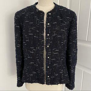 Chanel Navy, Black & Metallic Boucle Jacket 42 (US10) Circa 2004 Authentic